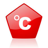 Celsius red web glossy icon — Stock Photo