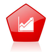 Histogram red web glossy icon — Stock Photo