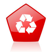 Recycle red web glossy icon — Stock Photo