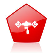 Water red web glossy icon — Stock Photo