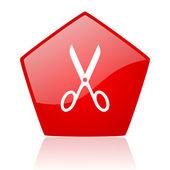 Makas kırmızı web parlak simgesi — Stok fotoğraf