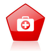 First aid kit red web glossy icon — Stock Photo