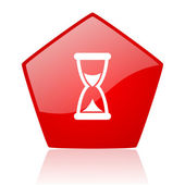 Time red web glossy icon — Stock Photo