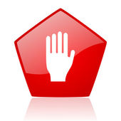 Stop red web glossy icon — Stock Photo