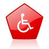 Accessibility red web glossy icon — Stock Photo