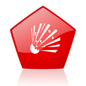 Bomb red web glossy icon — Stock Photo