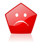 Cry red web glossy icon — Stock Photo