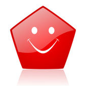 Smile red web glossy icon — Stock Photo