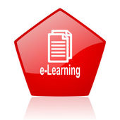 E-learning red web glossy icon — Stock Photo