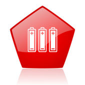 Batteries red web glossy icon — Stock Photo