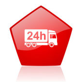 Delivery 24h red web glossy icon — Stock Photo