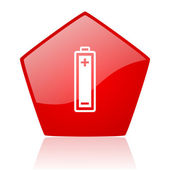 Battery red web glossy icon — Stock Photo