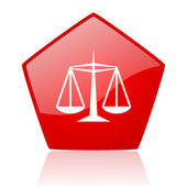 Justice red web glossy icon — Stock Photo