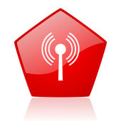 Wifi red web glossy icon — Stock Photo