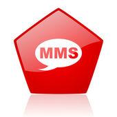 Icône de papier glacé rouge web mms — Photo