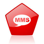 Mms red web glossy icon — Stock Photo