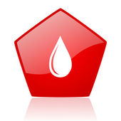 Water drop red web glossy icon — Stock Photo