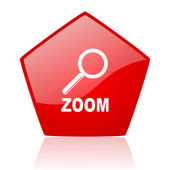 Zoom red web glossy icon — Stock Photo
