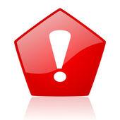 Lesklý ikona vykřičníku znamení červený web — Stock fotografie