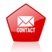Contact red web glossy icon — Stock Photo