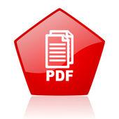 Pdf red web glossy icon — Stock Photo