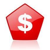 Us dollar red web glossy icon — Stock Photo