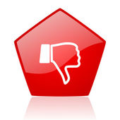 Thumb down red web glossy icon — Stock Photo