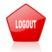 Logout red web glossy icon — Stock Photo