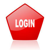 Login red web glossy icon — Stock Photo