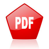 Icono brillante pdf web rojo — Foto de Stock