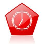 Clock red web glossy icon — Stock Photo