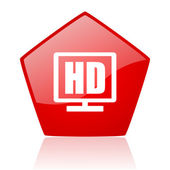 Hd display red web glossy icon — Stock Photo