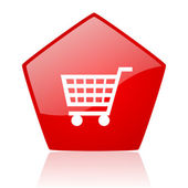 Shopping cart red web glossy icon — Stock Photo