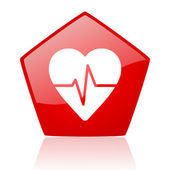 Cardiogram red pentagon web glossy icon — Stock Photo