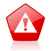 Warning red pentagon web glossy icon — Stock Photo