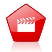 Film röda pentagon web blanka ikonen — Stockfoto