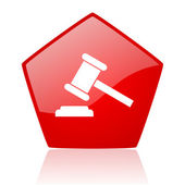 Law red pentagon web glossy icon — Stock Photo