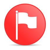 Icône de papier glacé web drapeau de cercle rouge — Photo