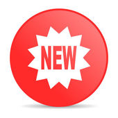Yeni kırmızı daire web parlak simgesi — Stok fotoğraf