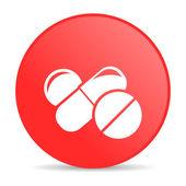 Pills red circle web glossy icon — Stock Photo