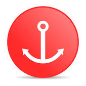 Anchor red circle web glossy icon — Stock Photo