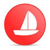 Iate círculo vermelho web lustrosa ícone — Foto Stock