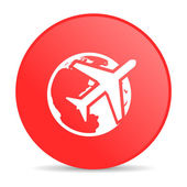 Travel red circle web glossy icon — Stock Photo