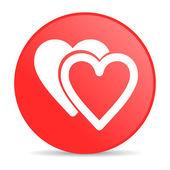 Kırmızı daire web parlak simge seviyorum — Stok fotoğraf
