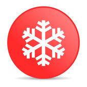 Snowflake red circle web glossy icon — Stock Photo