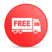Free delivery red circle web glossy icon — Stock Photo