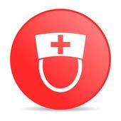 Nurse red circle web glossy icon — Stock Photo