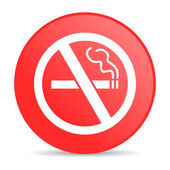 No smoking red circle web glossy icon — Stock Photo