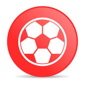 Soccer red circle web glossy icon — Stock Photo