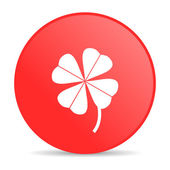 Four-leaf clover red circle web glossy icon — Stock Photo